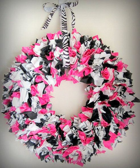 pink and Zebra Fabric Wreath - Rag Wreath - Zebra Wreath - Nursery Decor - Girls Room - Baby Shower - Party Decoration