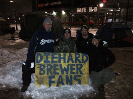 Brewers fans at the Brewers Arctic Tailgate on 2/25/12
