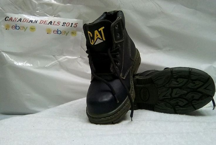 Kids Youth Size 2 CATERPILLAR CAT Black  LEATHER NEW Hiking Boots Protection #Catterpiller #Boots