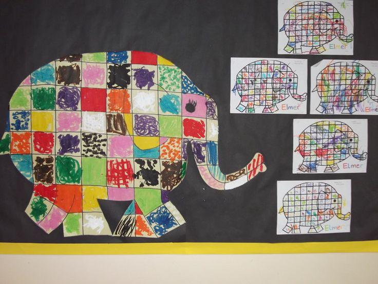 Elmer Art Display, classroom display, class display, Elmer, Elephant, Elmer the Elephant, colour, book, Early Years (EYFS), KS1 & KS2 Primary Resources