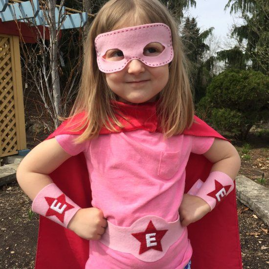 Make your own superhero wristguards, mask, and belt. With a free pattern.