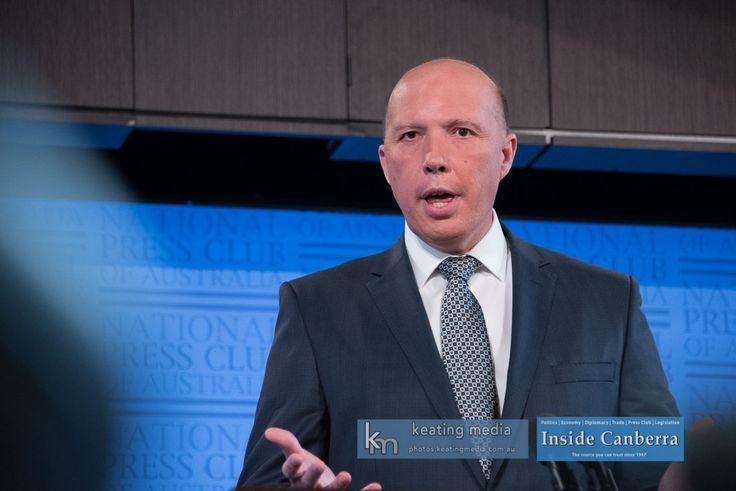 Photo of Peter Dutton, Minister for Home Affairs speaking at the National Press Club