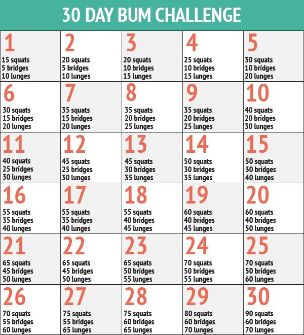 30 Day Butt Challenge - 30 Day Fitness Challenges