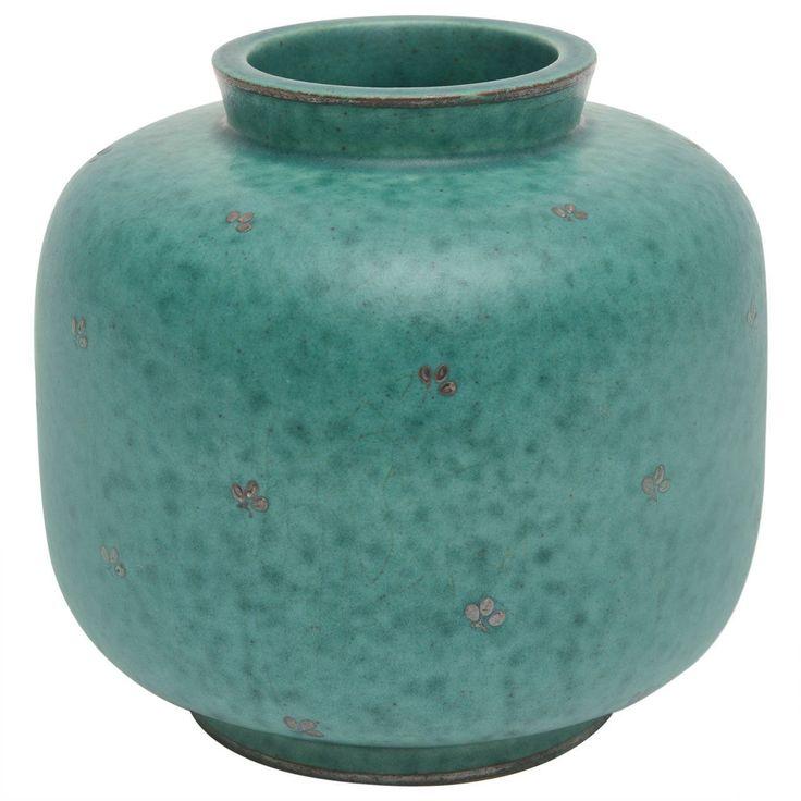 Swedish Gustavsberg Argenta Signed Sterling Silver Overlay Ceramic Vase From a unique