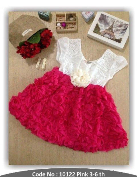Baju anak perempuan Dress Rose Pink http://www.dolimoli.com/Girls #bajuanak #bajuanakperempuan