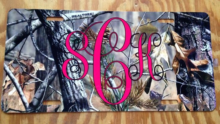 Personalized Monogrammed Custom License Plate Auto Car Tag Camo Hot Pink Initial