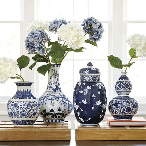 """$79-149 Blue and White Porcelain Vases Dimensions: Curved Vase: 11 1/2""""H X 8 1/2"""" Diameter Double Gourd Vase: 12 1/4""""H X 8"""" Diameter Large Gourd Vase: 15 3/4""""H X 10 1/2"""" Diameter Lidded Vase: 16 1/2""""H X 8 1/2"""" Diameter Construction: Made of porcelain. Country of Origin: China"""
