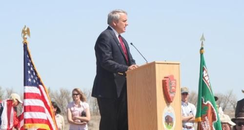 Colorado Gov. Bill Ritter addressed the crowd at the dedication of the Sand Creek Massacre National Historic Site on May 27, 2007.