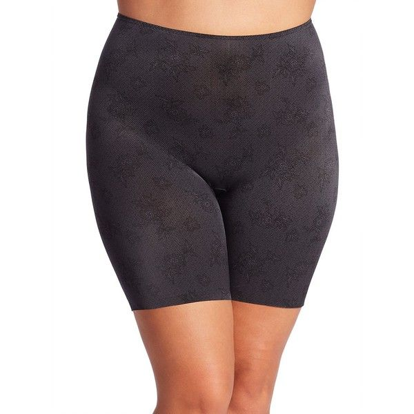 Spanx Plus Size Prety Smart Mid-Thigh Shorts ($27) ❤ liked on Polyvore featuring intimates, apparel & accessories, spanx lingerie, plus size lingerie, lace lingerie, plus size lace lingerie and women's plus size lingerie