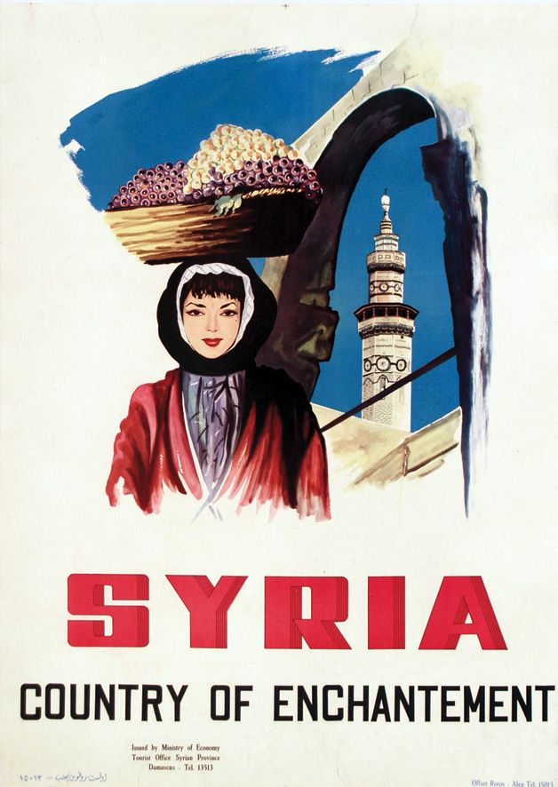 <B>LIBAN & SYRIE / LEBANON & SYRIA <br> Syria, Country of Enchantement vers 1950 </b> <br> <br> Offset Rotos Alep (Syria) <br> Aff. Entoilée. / Poster on Linen B.E. B + Déchirures. / Tears.