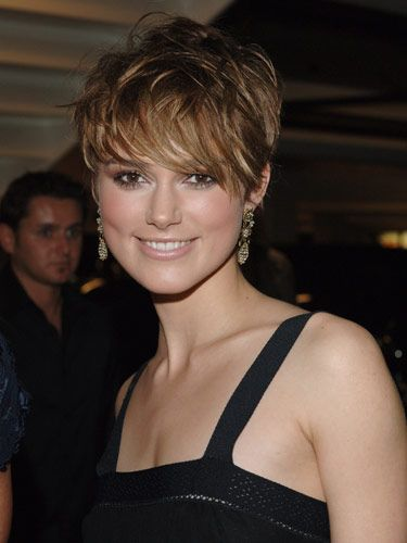 Keira Knightley's pixie cut is anything but ordinary, thanks to chunky layers and caramel highlights. Wish I had the nerve to cut my hair this short