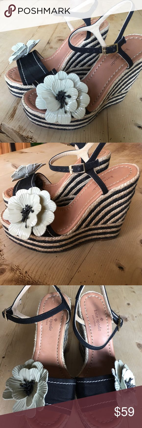 kate spade flower wedge sandals size 5 Excellent shape. Paten leather flower. Black and cream. Grosgrain ribbon fabric. kate spade Shoes Platforms