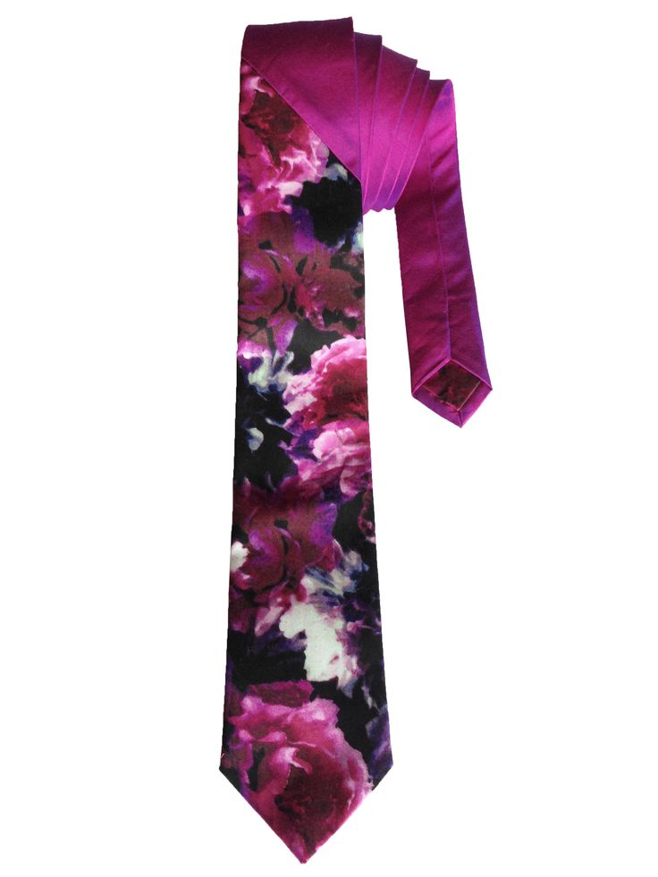 Magenta Raw Silk Tie with Cotton floral print