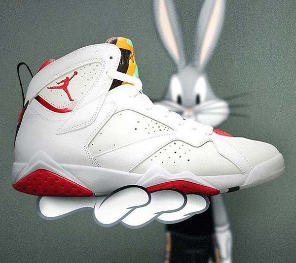 hot sales 9483c 1ab0e NIKE AIR JORDAN 7 RETRO HARE  WHITE   TRUE RED-LIGHT SILVER-TOURMALINE   (304775-125)