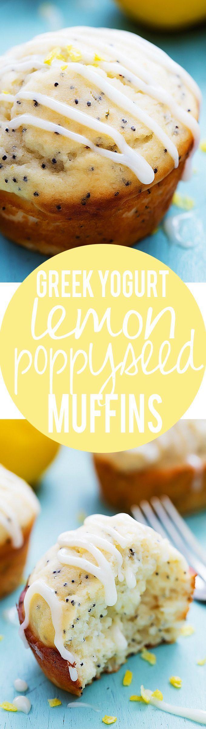 Greek Yogurt Lemon Poppyseed Muffins with Lemon Cream Cheese Glaze | Creme de la Crumb