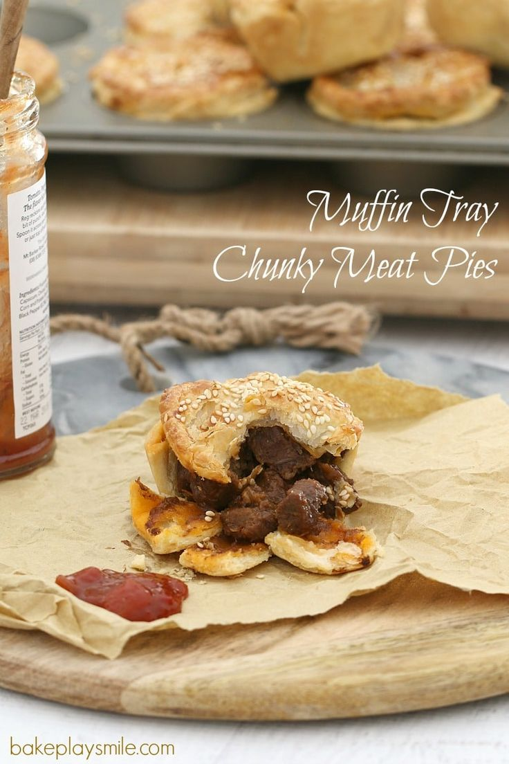 These easy muffin tray chunky meat pies are made with flakey pastry, beef chunks and a yummy gravy sauce... the perfect savoury snack or light dinner!