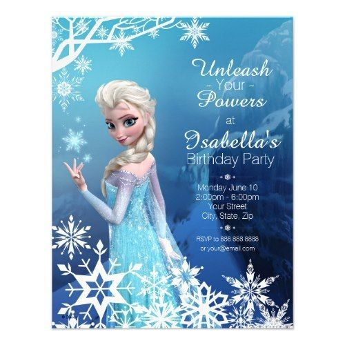 "Birthday Party Invitations Templates | Disney ""Frozen"" Themed Birthday Party Invitations"