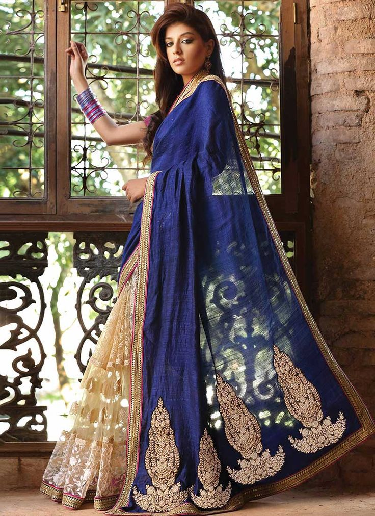 Beige And Blue Half N Half Saree - beautiful colours