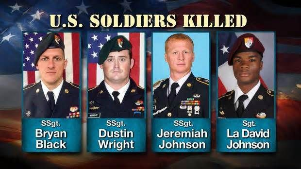 American soldier in Niger may have been captured by Islamic militants CBS News has learned one of the four American soldiers killed in the ambush in Niger may have been kidnapped by Islamic militants who opened fire on a group of U.S. and Nigerien troops in early October. The Pentagon has not said how Sgt. La David Johnson ...