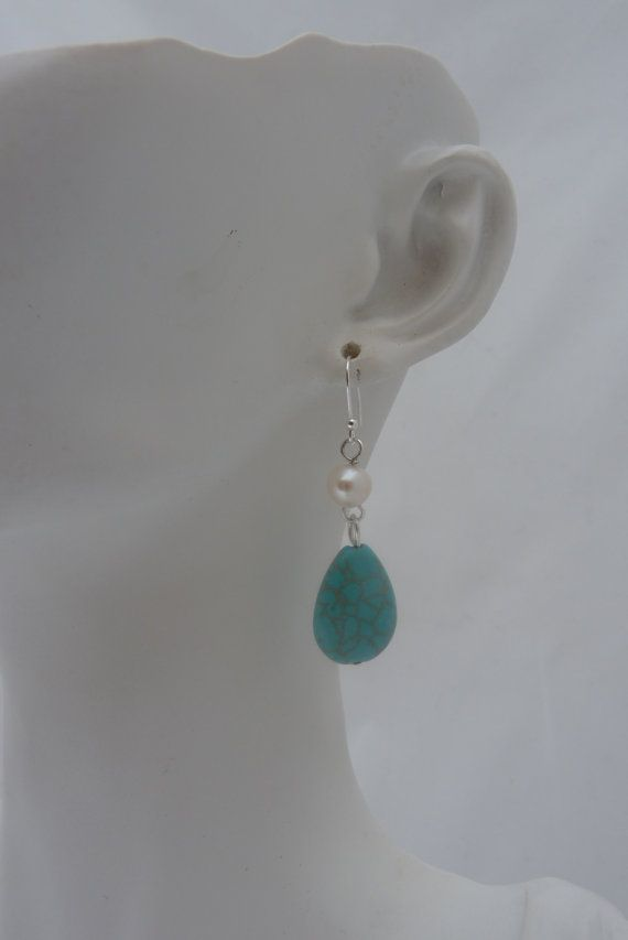 Stirling Silver Freshwater Pearl and Turquoise by UPMARKETJEWELS