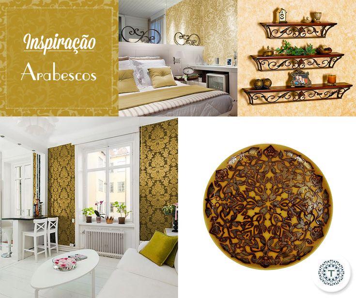 Utilize arabescos na decoração e renove os ambientes. O diferencial pode estar presente na parede, nos móveis, objetos decorativos  ou em pequenos detalhes. Inspire-se!