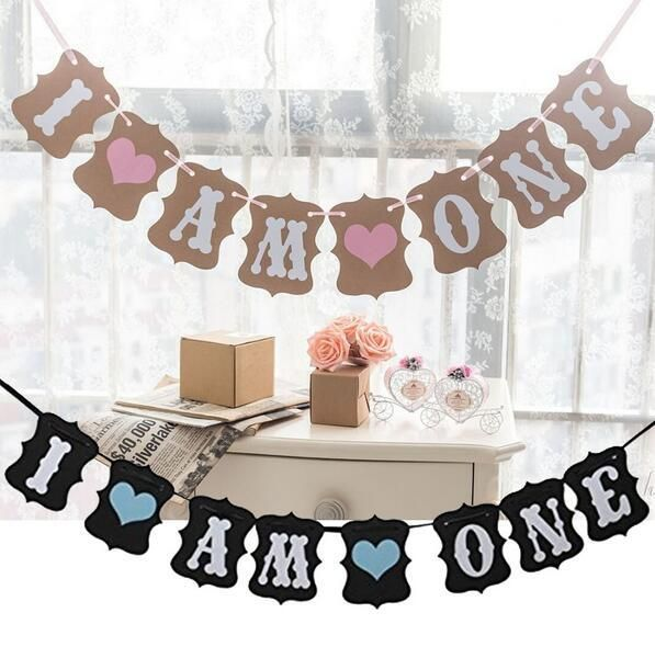 [Visit to Buy] Free Shipping 1 X I AM ONE Banner Kids 1st Birtrhday Sign Baby Shower Retro Flag Birthday Party Deco Supply #Advertisement