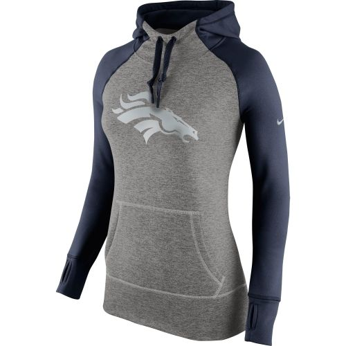 Nike Denver Broncos Women's Charcoal Platinum All Time Performance Hoodie