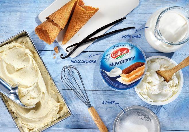 IJs van mascarpone - combineren met hazelnoot/caramel van Semi Freddo van Jamie.