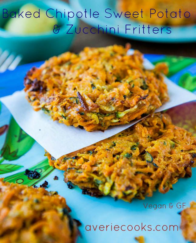 Baked Chipotle Sweet Potato and Zucchini Fritters (vegan GF) - Healthy fritters that are baked rather than fried & every bit as satisfying! Easy recipe at averiecooks.com