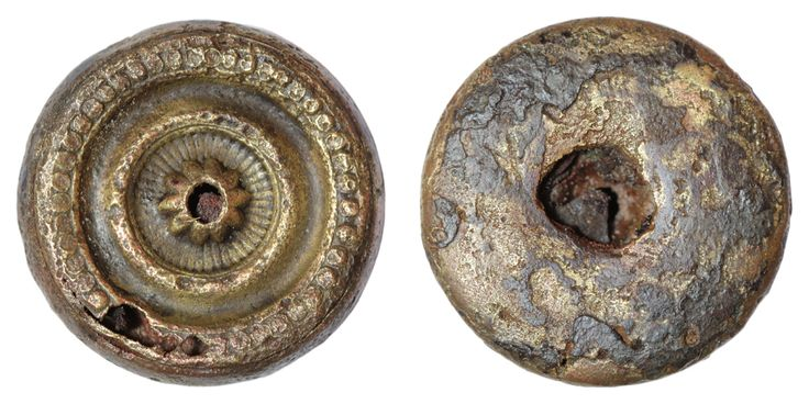 An incomplete decorative button. Date: ? Material: copper alloy. Diameter: 26 mm. Weight: 6.5 g. Found: Lancashire 2016. #metaldetecting,  # 0219