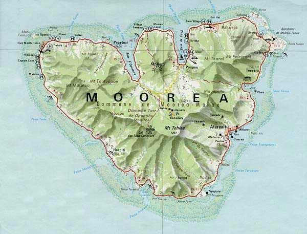 Road Map Moorea | Places// Travel | Pinterest | Road maps ...