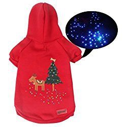 Pawow LED Light Up Pet Dog Hoodie Winter Sweater Puppy Christmas Costume, XL, Red