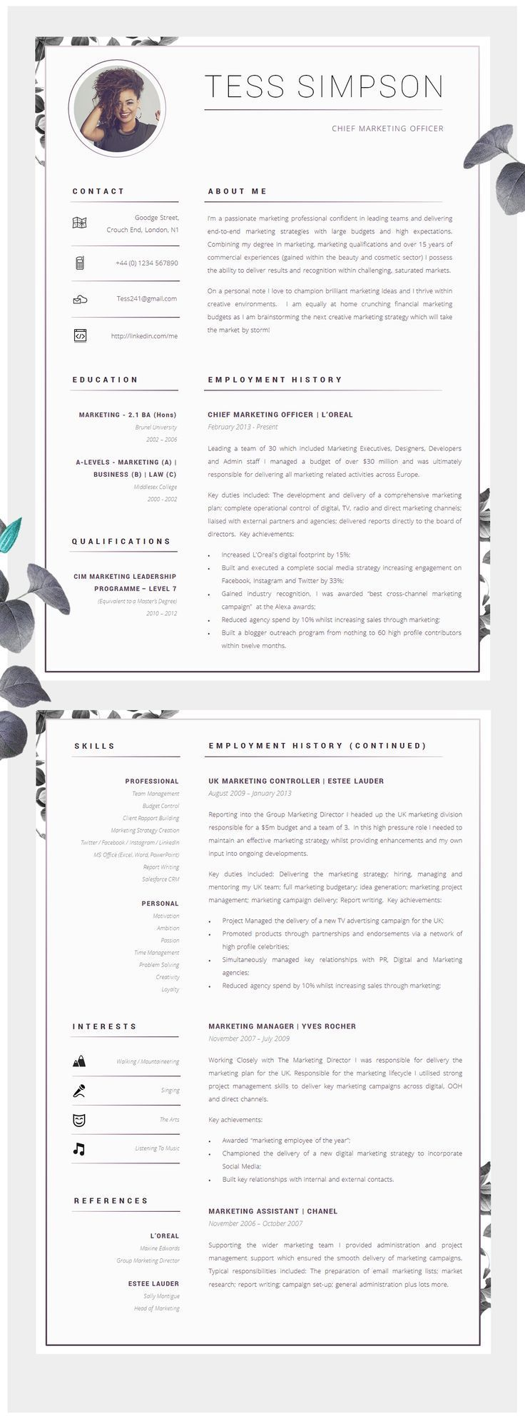 Resume Template Instant Download Creative cv, Creative