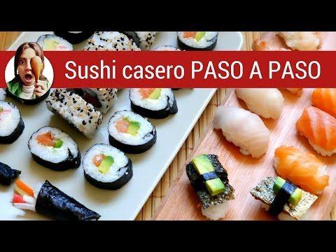 Cómo hacer SUSHI CASERO paso a paso -varios tipos- / Paulina Cocina - YouTube