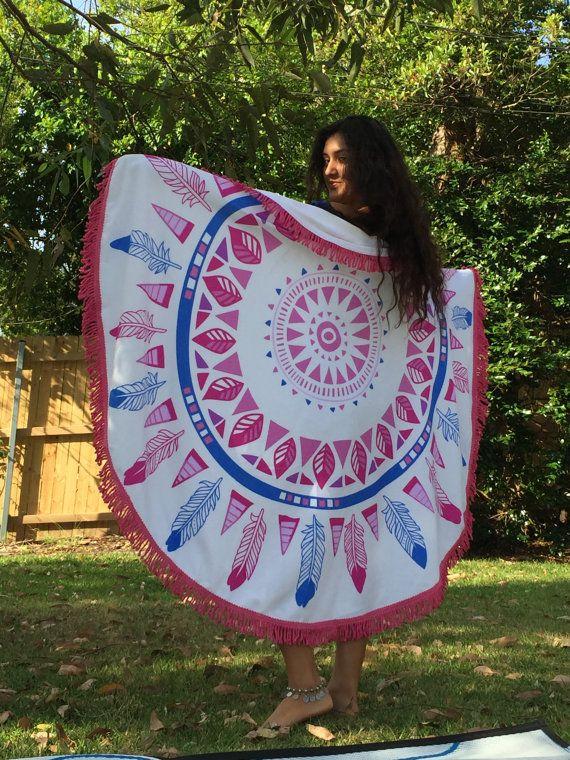 Round Mandala Beach Towel with Fringe  by KateStClaireLivingCo