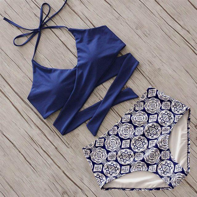 2017 Croix Brésilien Bikinis Femmes Maillot de Bain Push Up Maillots De Bain Automne Floral Croix Criss Bikini Set Halter Maillots de Bain De Bain