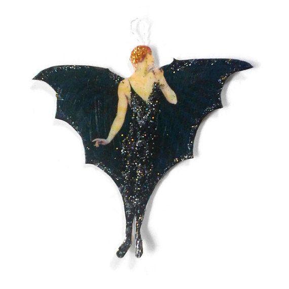 Halloween Ornaments Decorations, Vintage Imagery Black Glitter Sparkles, Art Deco Bat Lady Retro Halloween Recycled OOAK Ephemera Handmade