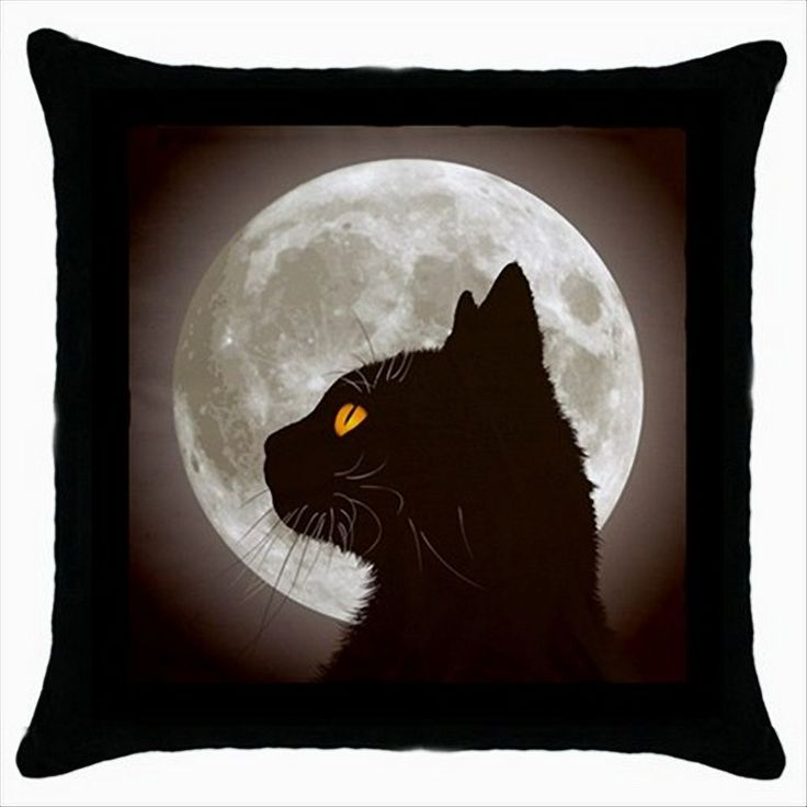 NEW* HOT BLACK CAT FULL MOON Quality Black Cushion Cover Throw Pillow Case  #Contemporary