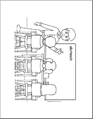 Coloring page with abcteach kids and teacher