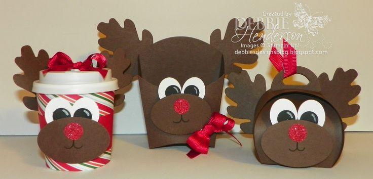 Control Freaks November Blog Hop! Stampin' Up! Fry Box Die, Curvy Keepsakes Box Die and Mini Cup Punch Art Reindeer. Debbie Henderson, Debbie's Designs.