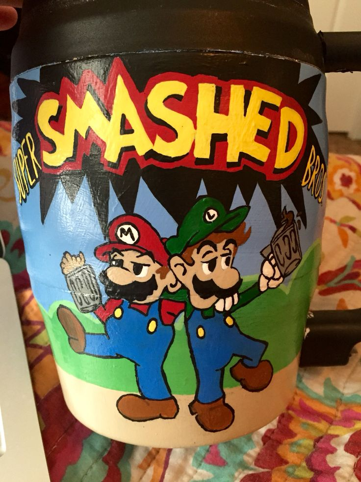 super smashed bros bubba keg I painted for my boyfriend