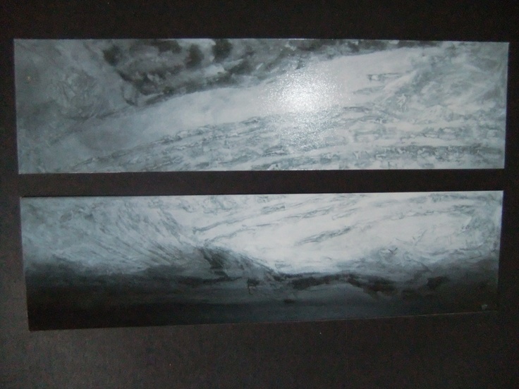 1200 x 280 each. Acrylic on Board, Moulding Paste and Sand. Metallic Silver Paint. Wedding gift for my sister, designed to go with the decor in their new home.