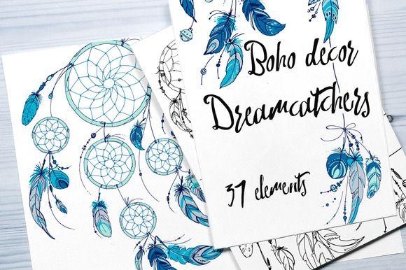 Boho decor. Dreamcatchers by irina.vaneeva on @creativemarket