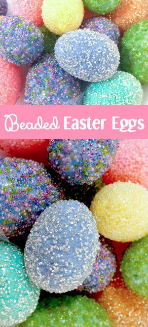 Take those plastic Easter Eggs to the next level with our embellished Beaded Easter Egg Tutorial. These special Easter Eggs will really stand out from your other Easter Decorations.  Follow us for more great Easter Craft Ideas.