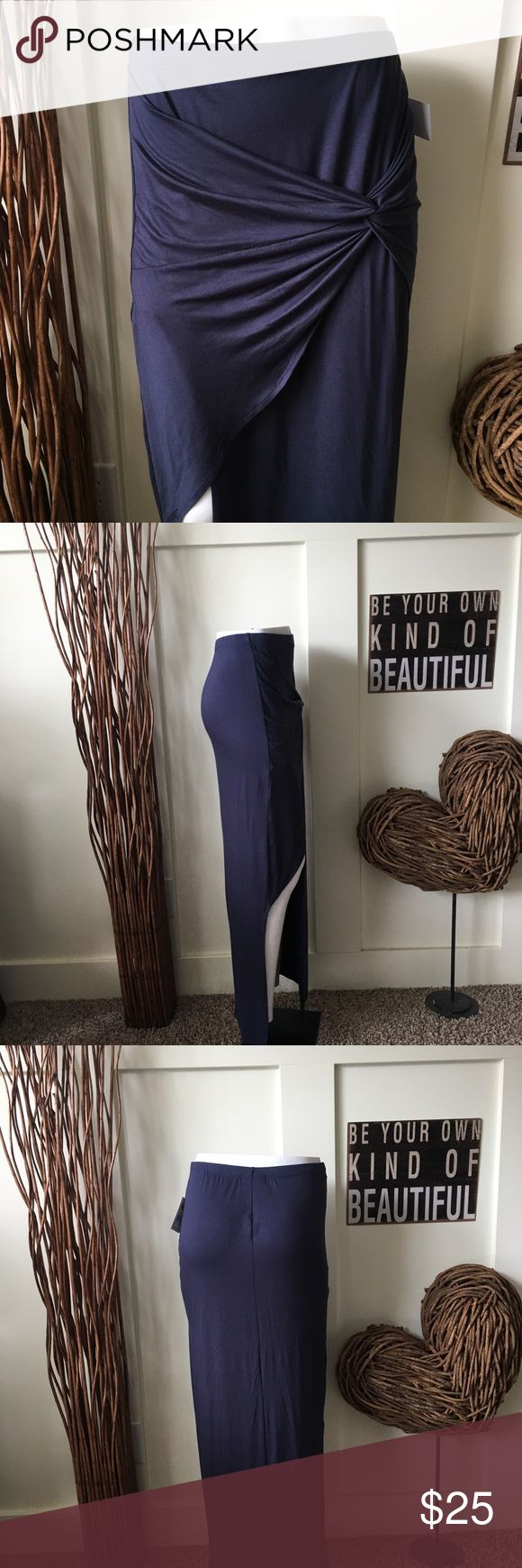 Joe B sarong style maxi skirt This pretty denim blue skirt as a side split with the sarong style wraparound front.  It looks amazing with tights or your favorite tall boots. Joe B Skirts Maxi