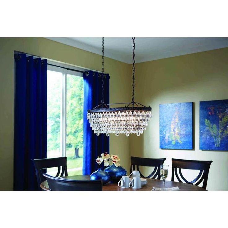 250 shop allen roth eberline 4 light bronze chandelier for Dining room lights at lowes