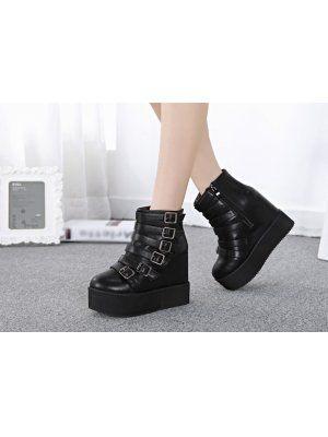 2014 Popular Round Toe Buckle-loop Pure Color Boots Side Zipper StreetWear Style Charming Hidden Heel Boots