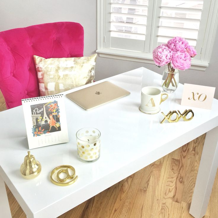 Everyone is telling me to pin my office!! Here it is! White desk! Pink chair! ❤️ White, gold, and pink office.