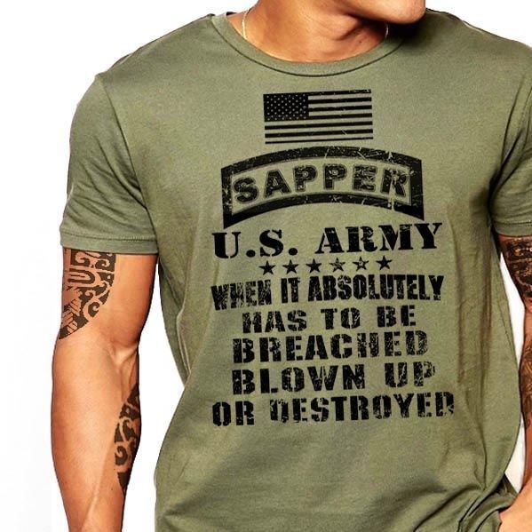 Details About Us Army Combat Engineer T Shirt Sapper Essayons