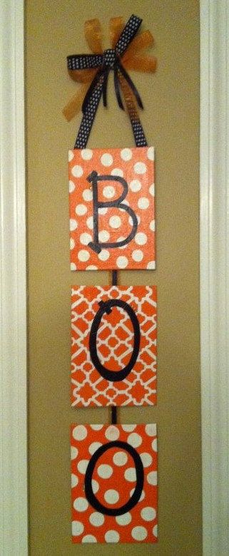 cute and easy-would be cute w/ initials too. Halloween Outside Decoration, Halloween Decor, Fall Decor, Easy Fall Painting, Cute Halloween, Scrapbook Paper, Canvas, Boos Signs, By Halloween